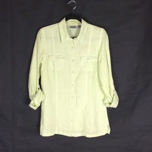Chico's Pale Green Button Up Top, 100% Linen
